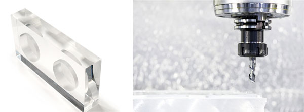 Usinage d'un bloc en Plexiglas pour présentoir à parfums